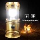 6-LED Solar Power Collapsible Flashlight Searchlight - Golden