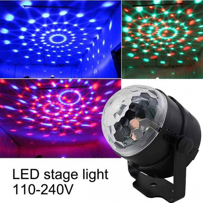 Mini RGB LED Crystal Magic Ball Stage Effect Lamp Bulb (US Plug)