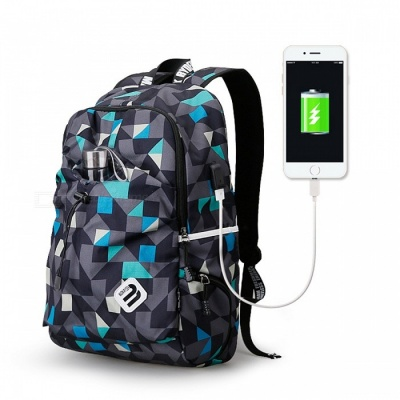 Portable Backpack with USB Port for Men Women - Blue Cube