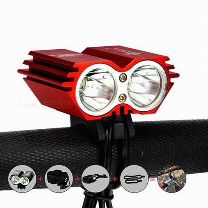 SolarStorm X2 1200lm 4-Mode XM-L U2 White Bike Light - RedBike Lights<br>Form  ColorRedModelX2Quantity1 DX.PCM.Model.AttributeModel.UnitMaterialAluminum alloyEmitter BrandCreeLED TypeXM-LEmitter BINU2Number of Emitters2Color BINCold WhiteWorking Voltage   8.4 DX.PCM.Model.AttributeModel.UnitPower Supply4 x 18650Current2.5 DX.PCM.Model.AttributeModel.UnitActual Lumens1200 DX.PCM.Model.AttributeModel.UnitRuntime2 DX.PCM.Model.AttributeModel.UnitNumber of Modes4Mode ArrangementHi,Low,Fast StrobeMode MemoryNoSwitch TypeForward clickyLensGlassReflectorAluminum SmoothFlashlight MountingHandlebar and HelmetSwitch LocationOthers,-Beam Range200 DX.PCM.Model.AttributeModel.UnitPacking List1 x XM-L U2 LED Bicycle Light1 x 8.4V 6400mAh battery pack1 x Charger for the battery pack2 x Spare O-rings<br>