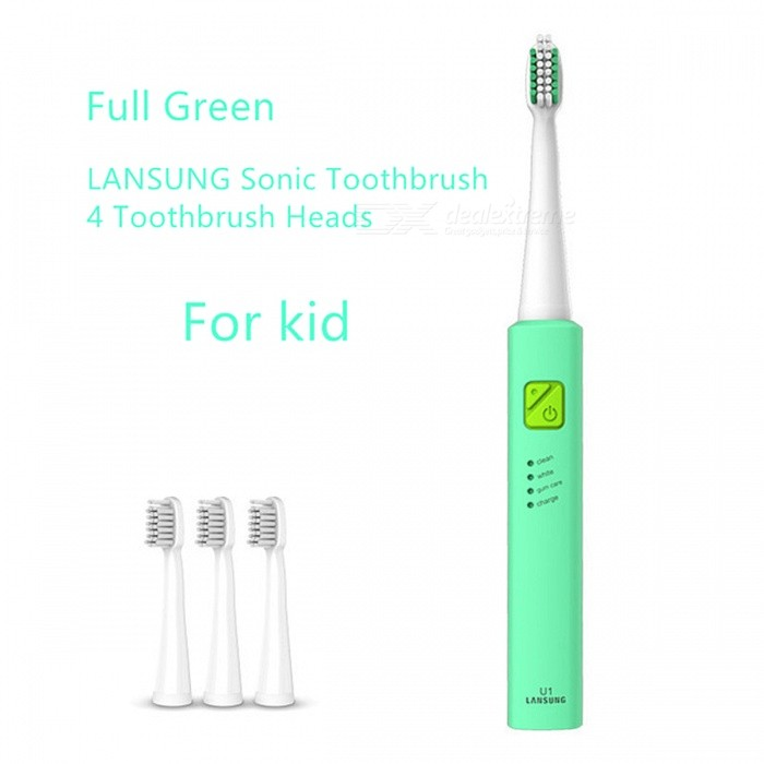 LANSUNG U1 Ultrasonic Sonic Electric Toothbrush for Kid - GreenOral Tooth Care<br>Form  ColorGreen For Kid ModelU1MaterialABS handleQuantity1 DX.PCM.Model.AttributeModel.UnitShade Of ColorGreenSpeed31,000 times/ minPower SupplyOthers,USB ChargingCertificationCCCPacking List1 x Toothbrush handle4 x Toothbrush heads1 x USB Charging Cable<br>