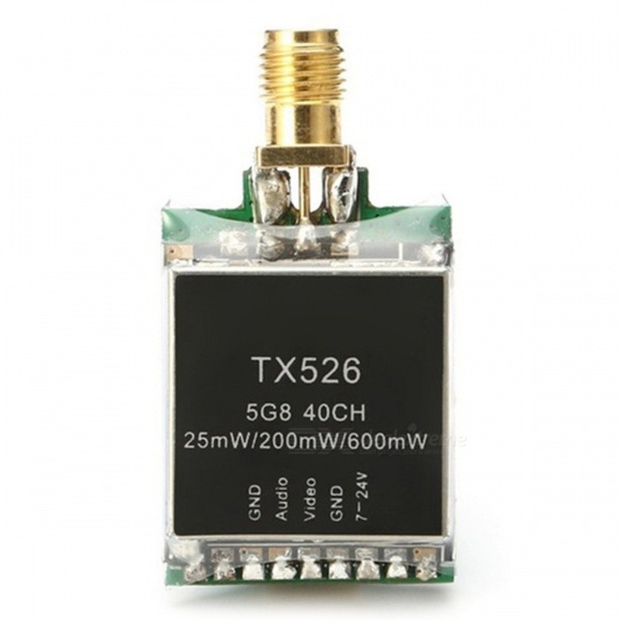 TX526 FPV Transmitter RP-SMA Female for FPV MulticopterOther Accessories for R/C Toys<br>Form  ColorBlackModelTX526MaterialComposite MaterialQuantity1 setCompatible ModelFPV MulticopterPacking List1 x FPV Transmitter1 x Antenna1 x 5P Cable1 x Manual<br>