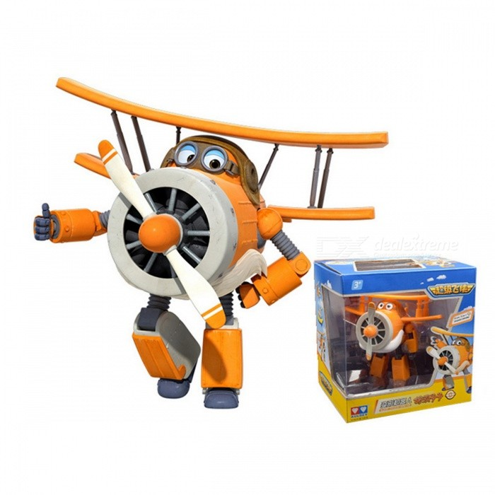 12cm ABS Super Wings Deformation Airplane Robot Toy - Orange