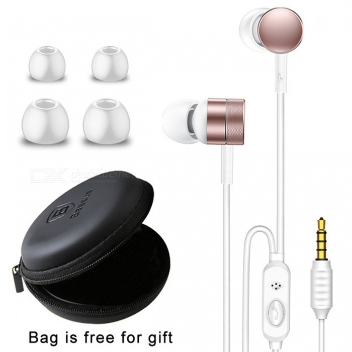 Baseus Bass Sound In-Ear Stereo Earphone for Cell Phones - Rose GoldHeadphones<br>Form  ColorRose GoldBrandOthers,BaseusModelEncok H04MaterialAluminum alloy + TPEQuantity1 DX.PCM.Model.AttributeModel.UnitConnection3.5mm WiredBluetooth VersionOthers,-Cable Length120 DX.PCM.Model.AttributeModel.UnitHeadphone StyleIn-EarWaterproof LevelOthers,-Applicable ProductsUniversalHeadphone FeaturesPhone Control,With Microphone,Portable,Game HeadsetSupport Memory CardNoSupport Apt-XNoSensitivity106dBFrequency Response20-20000HzImpedance16 DX.PCM.Model.AttributeModel.UnitMusic Play TimeN/A DX.PCM.Model.AttributeModel.UnitPower AdapterWithout Power AdapterPacking List1 x Earphones4 x Earbud covers<br>