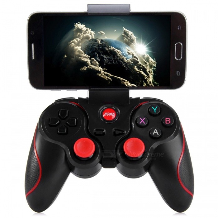 Wireless Joystick Bluetooth 3.0 Android Gamepad + Holder - BlackGame Gadgets<br>Form  ColorBlackModelT3Quantity1 DX.PCM.Model.AttributeModel.UnitMaterialABSShade Of ColorBlackCompatible ModelsAndroid SmartphonesCompatible SystemAndroidConnectionOthers,Bluetooth 3.0RootOthers,N/APacking List1 x T3 Bluetooth Gamepad1 x USB Cable1 x Holder1 x User Manual in English and Chinese<br>