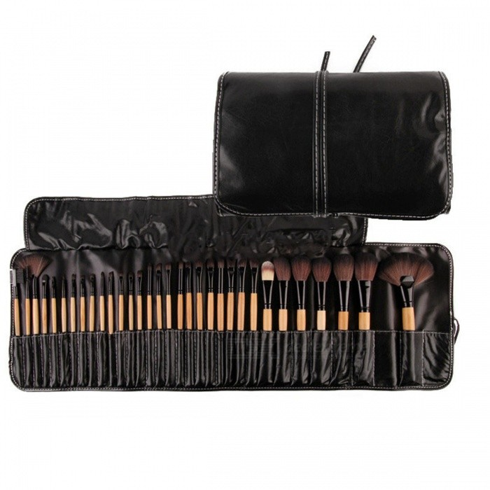 Makeup Brushes Professional Cosmetic Brush Set (32PCS)Make-up Brushes<br>Form  ColorWoodenModel8012MaterialSynthetic HairQuantity1 DX.PCM.Model.AttributeModel.UnitHandle materialWoodBrush head materialSynthetic Hair, NylonPacking List1 x Set of Makeup Brushes<br>