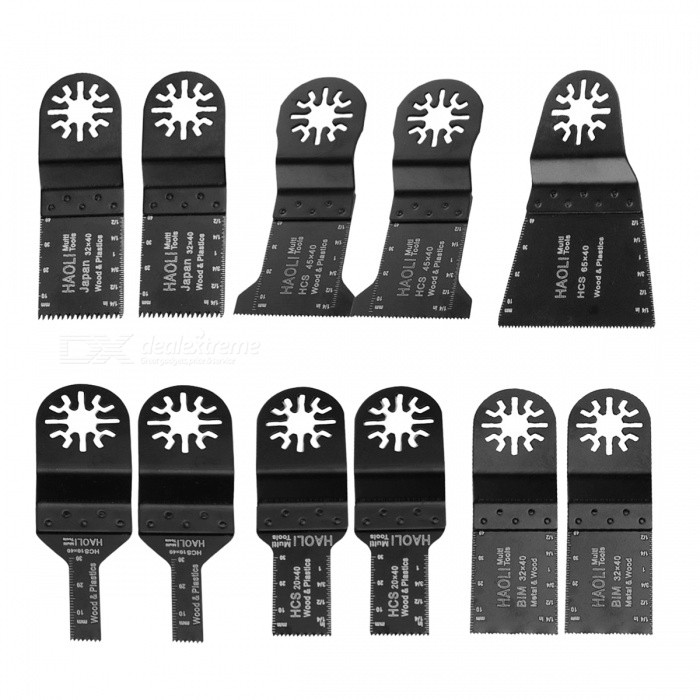 11Pcs Kit Oscillating Tool Saw BladesOther Tools<br>Form  ColorBlackQuantity1 DX.PCM.Model.AttributeModel.UnitMaterialN/APacking List11 x Oscillating Multi Tool Saw Blades<br>