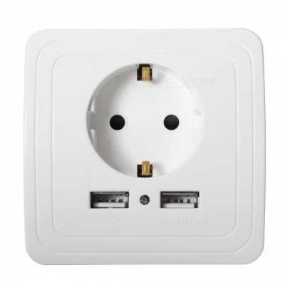 2A Dual USB 16A Wall Charger Power Adapter Socket (EU Plug)