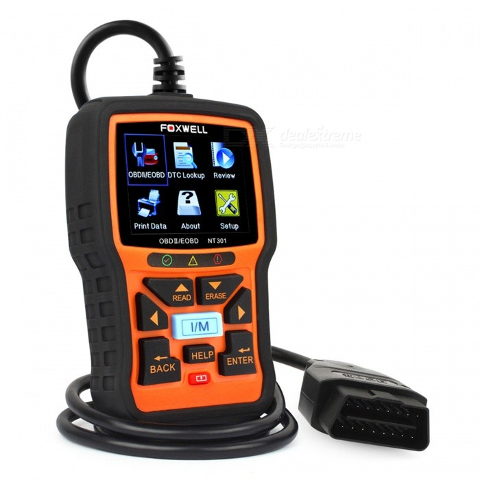 Foxwell NT301 2.8 OBD2 Auto Diagnostic Tool Automotive ScannerCode Readers and Scan Tools<br>Form  ColorBlackModelNT301Quantity1 DX.PCM.Model.AttributeModel.UnitMaterialPlasticScreen Size2.8 DX.PCM.Model.AttributeModel.UnitWireless BluetoothNoDiagnose Interface16pinSupported LanguagesOthers,English, Russian, French, Spanish, Portuguese, Swedish, German, Italian, Dutch, Hungarian (ps:  Newest version support russian language and others)Output ProtocolJ1859-41.6, J1850-10.4, ISO9141, KWP2000 (ISO 14230), and CAN (Control Area Network ISO 11898)Working Voltage   8-18 DX.PCM.Model.AttributeModel.UnitPacking List1 x NT301 Engine Scanner<br>