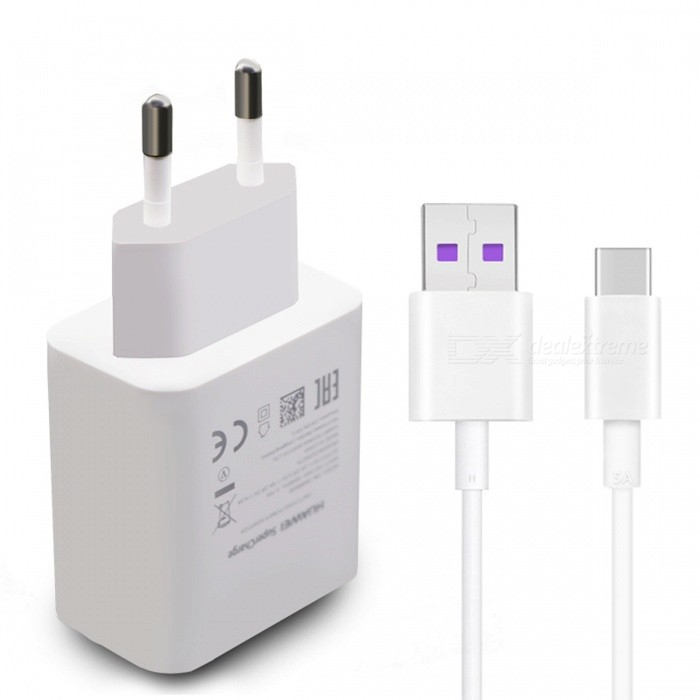 Huawei Supercharge USB Fast Wall Charger with 1m Type-C Cable - WhiteAC Chargers<br>Form  ColorWhiteModelHW-050450E00MaterialABSQuantity1 DX.PCM.Model.AttributeModel.UnitCompatible ModelsHuawei P10 Plus and More PhonesInput Voltage100-240 DX.PCM.Model.AttributeModel.UnitOutput Current5 DX.PCM.Model.AttributeModel.UnitOutput Power22.5 DX.PCM.Model.AttributeModel.UnitOutput Voltage4.5V / 5 DX.PCM.Model.AttributeModel.UnitSplit adapter number1Power AdapterEU PlugQuick ChargeyesCable Length100 DX.PCM.Model.AttributeModel.UnitCertificationCE,CCC,ULPacking List1 x Huawei supercharge charger1 x Type-C cable<br>