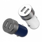 ROCK Sitor RO5V 2.4A Dual USB Metal Alloy Fast Charge Car Phone Charger for IPHONE/Xiaomi/Samsung/Meizu - Metal Blue
