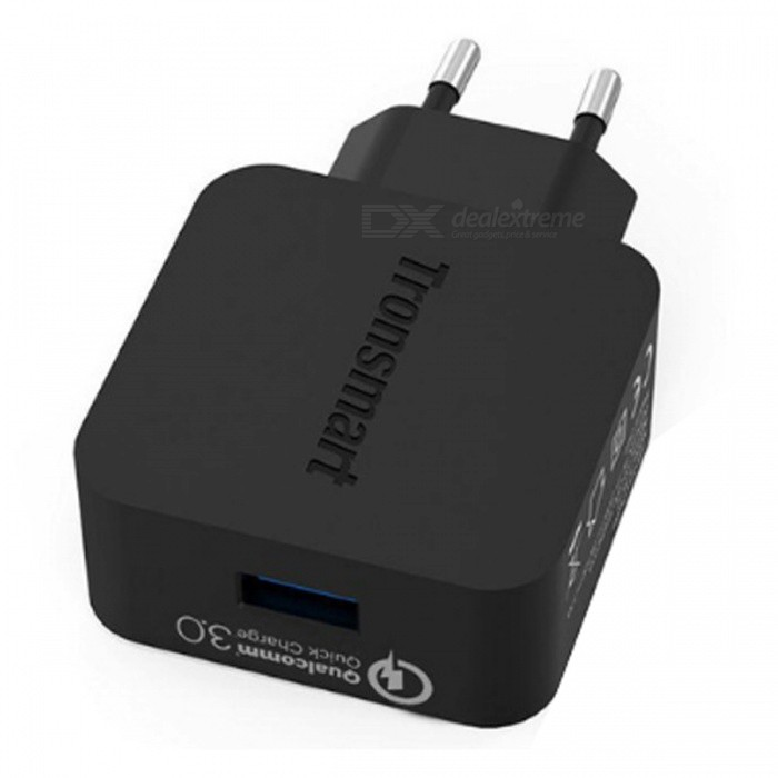Tronsmart WC1T Quick Charge 3.0 USB Fast Wall Charger for Xiaomi / Samsung - Black (EU Plug)AC Chargers<br>Form  ColorBlackModelWC1TMaterialPCQuantity1 DX.PCM.Model.AttributeModel.UnitCompatible ModelsSmartphones / Tablet PCsInput Voltage100~240 DX.PCM.Model.AttributeModel.UnitOutput Current3 DX.PCM.Model.AttributeModel.UnitOutput Power18 DX.PCM.Model.AttributeModel.UnitOutput Voltage5 DX.PCM.Model.AttributeModel.UnitSplit adapter number1Power AdapterEU PlugQuick ChargeQC 3.0Cable Length100 DX.PCM.Model.AttributeModel.UnitPacking List1 x USB Smart Charger1 x USB to Micro USB Cable<br>