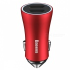 Baseus 2.4A Metal Mini USB Car Charger with Dual USB Ports for IPHONE / Xiaomi / Samsung - Red