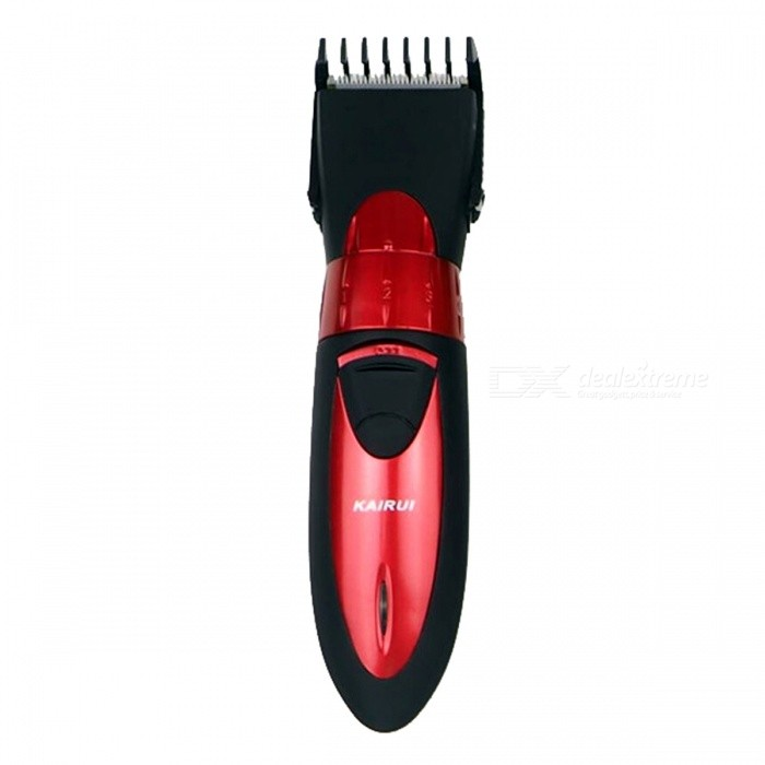 Professional Waterproof Rechargeable Electric Hair Clipper Trimmer - Red (EU Plug)