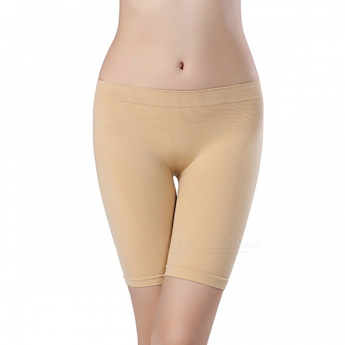 Elastic Dew Buttocks Carry Buttock Sexy Five Pants for Women - Skin Colour (L)