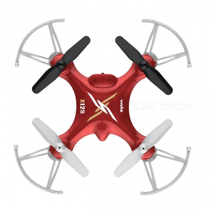 Syma X12S Mini 4CH 6-Axis Gyro RC Helicopter Drone Quadcopter with 3D Roll, 360 Degree Flip, Headless Mode - RedR/C Airplanes&amp;Quadcopters<br>Form  ColorRedModelX12SMaterialPlasticQuantity1 DX.PCM.Model.AttributeModel.UnitShade Of ColorRedGyroscopeYesChannels Quanlity4 DX.PCM.Model.AttributeModel.UnitFunctionOthers,Left/right fly side, handheld left to fly, left/right mode switch, high/low speed switch, 3D roll, 360 degree flip, headless mode.Remote TypeRadio ControlRemote control frequency2.4GHzRemote Control RangeAbout 50 DX.PCM.Model.AttributeModel.UnitSuitable Age 8-11 years,12-15 years,Grown upsCameraNoLamp YesBattery TypeAABattery Capacity100 DX.PCM.Model.AttributeModel.UnitCharging Time60 DX.PCM.Model.AttributeModel.UnitWorking TimeAbout 5 DX.PCM.Model.AttributeModel.UnitRemote Controller Battery TypeAARemote Controller Battery Number4 x AA batteries (Not Inculded)Remote Control TypeWirelessModelMode 2 (Left Throttle Hand)Packing List1 x Syma X12S RC Quadcopter1 x Transmitter 1 x USB Charging Cable 1 x 3.7V 100mAh Li-Po Battery 1 x Spare Blade Set1 x English manual<br>