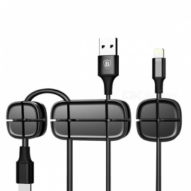 Baseus Flexible Silicone Management Cross Peas Cable Clip Winder Organizer for Headphones Earphones and Cables - Black