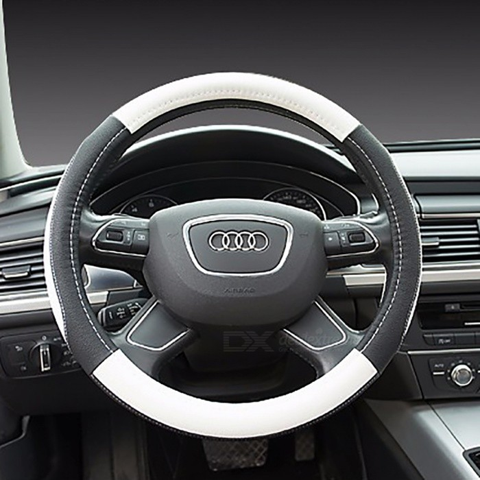Elegant Luxury Car 38cm Odorless Steering Wheel Cover - Black + WhiteOther Interior<br>Form  ColorBlack + WhiteModel-Quantity1 DX.PCM.Model.AttributeModel.UnitMaterialTop Layer LeatherPacking List1 x Steering Wheel Cover<br>