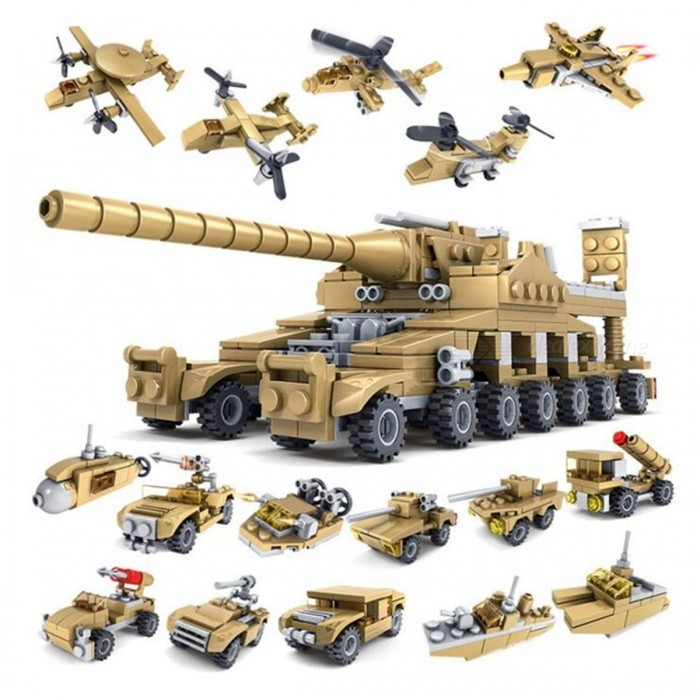 Building Blocks Military Weapons 16-in-1 Assembled Toy for KidsOther Toys<br>Form  ColorGoldenModelN/AMaterialPlasticQuantity1 setSuitable Age 5-7 years,8-11 yearsPacking List1 Set x Super Tanks Transformation Toy<br>