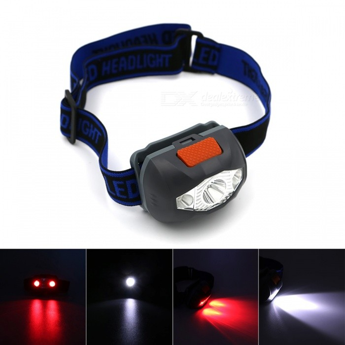 Waterproof 3-LED 300 Lumens 4-Mode Mini Headlamp Light Torch - GrayHeadlamps<br>Form  ColorGreyQuantity1 DX.PCM.Model.AttributeModel.UnitMaterialPlasticEmitter BrandOthers,-LED TypeOthers,-Emitter BINothers,-Color BINWhiteNumber of Emitters3Working Voltage   / DX.PCM.Model.AttributeModel.UnitPower Supply3 x AAA battery (Not included)Current/ DX.PCM.Model.AttributeModel.UnitActual Lumens300 DX.PCM.Model.AttributeModel.UnitRuntime/ DX.PCM.Model.AttributeModel.UnitNumber of Modes4Mode ArrangementOthers,White light Strong/ White light Weak/ Red light/SOS Red lightMode MemoryNoSwitch TypeOthers,-Switch LocationHeadLensPlasticReflectorAluminum SmoothBand Length30 DX.PCM.Model.AttributeModel.UnitCompatible CircumferenceAdjustableBeam Range80 DX.PCM.Model.AttributeModel.UnitPacking List1 x Mini Headlamp Light Torch (No Battery)<br>