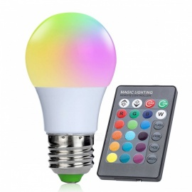 E27 3W 16-Color Changing RGB LED Bulb Chandelier with 24-Key IR Remote Controller