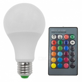 E27 5W 16-Color Changing RGB LED Bulb Chandelier with 24-Key IR Remote Controller for Living Room - White