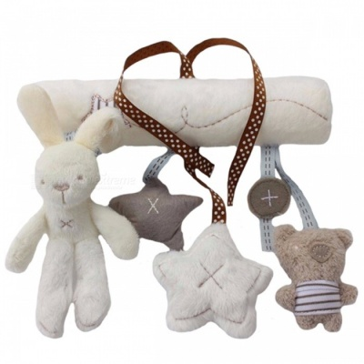 Multifunctional Hanging Plush Rabbit Baby Toy, Stroller Mobile Gift