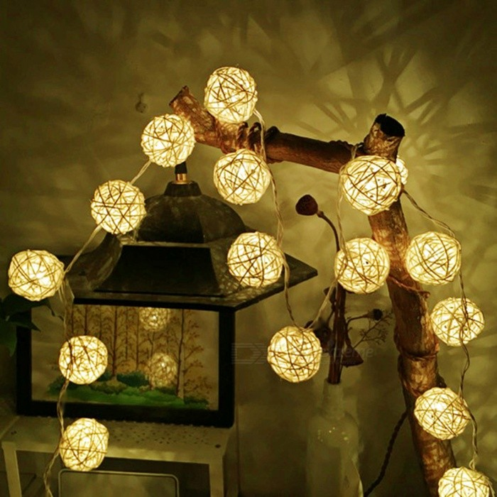 2m 20-LED Rattan Ball Warm White LED String Fairy Light for Christmas Holiday Decoration