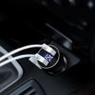 USAMS US-CC019 3.4A Universal Digital LED Display Car Charger with Dual USB Ports - Black