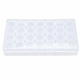 28 Slots Clear Plastic Storage Box Nail Art Tools Rhinestone Jewelry Beads Display Box Empty Case