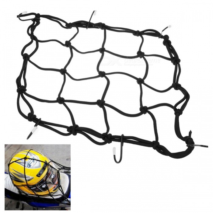 Motorcycle Bike 6 Hooks Mesh Net Bag Luggage Cargo Helmet Holder - 30 x 30CMOthers<br>Form  ColorBlackModel-Quantity1 pieceShade Of ColorBlackCompatible TypeUniversalPacking List1 x Helmet Luggage Cargo Net<br>