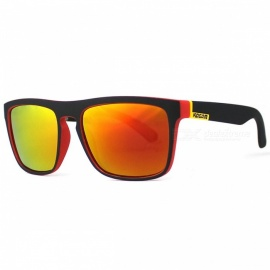 Men's Sport Eyewear, Reflective Coating UV400 Polarized Sunglasses with Case - Yellow