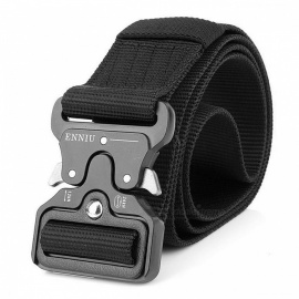 Men's Canvas Belt Metal Insert Buckle Military Army Tactical Nylon Training Belt - Black