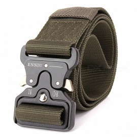 Men's Canvas Belt Metal Insert Buckle Military Army Tactical Nylon Training Belt - Army Green