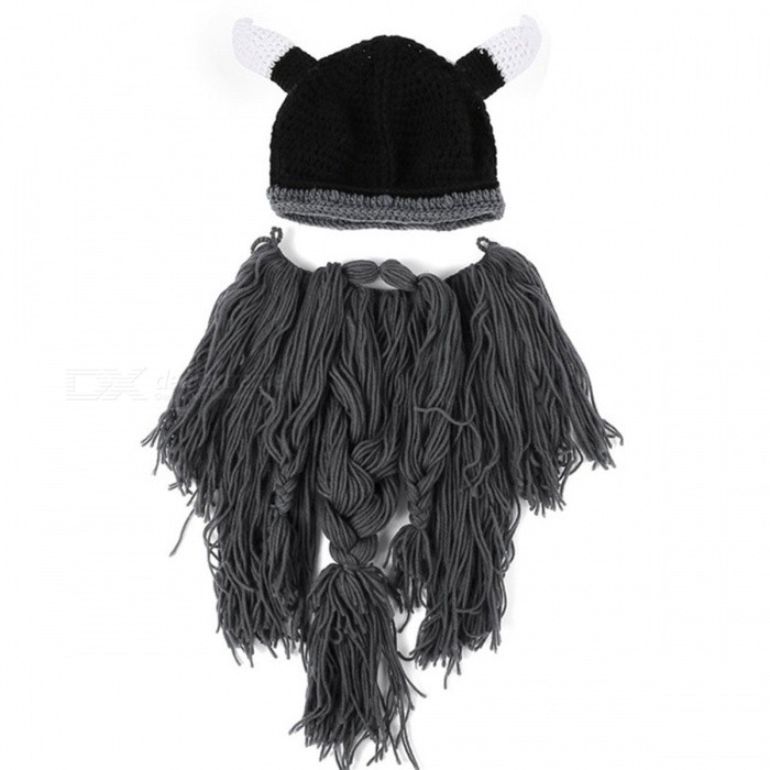 Barbarian Vagabond Viking Beard Beanie Horn Mens Hat, Handmade Knit Winter Warm Holiday Party Cool Funny Cosplay Cap - GrayCaps and Hats<br>Form  ColorGreyQuantity1 DX.PCM.Model.AttributeModel.UnitShade Of ColorGrayMaterialKnitting Cotton, PolyesterGenderMenSuitable forAdultsStyleOthers,NoveltyPatternViking Beard Beanie Horn HatsStrap TypeNoSeasonsOthers,WinterPacking List1 x Winter Viking Beard Hat For Men<br>
