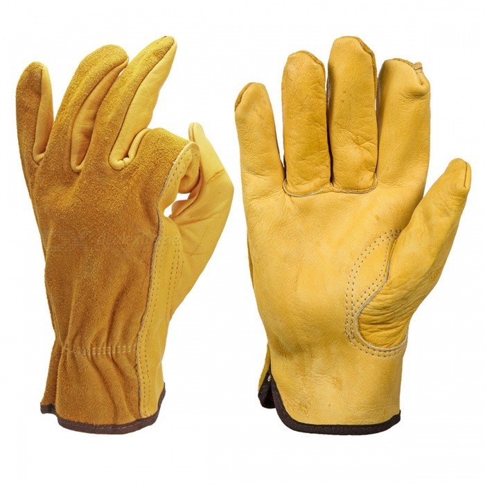 Safety Cowhide Leather Security Protection Gloves for Driver Worker - XLSafety Gloves<br>Form  ColorYellowSizeXLShade Of ColorYellowMaterialLeatherQuantity1 DX.PCM.Model.AttributeModel.UnitPalm Girth- DX.PCM.Model.AttributeModel.UnitMidfinger Length- DX.PCM.Model.AttributeModel.UnitGlove Length- DX.PCM.Model.AttributeModel.UnitOther FeaturesN/APacking List1 x Safety Gloves<br>