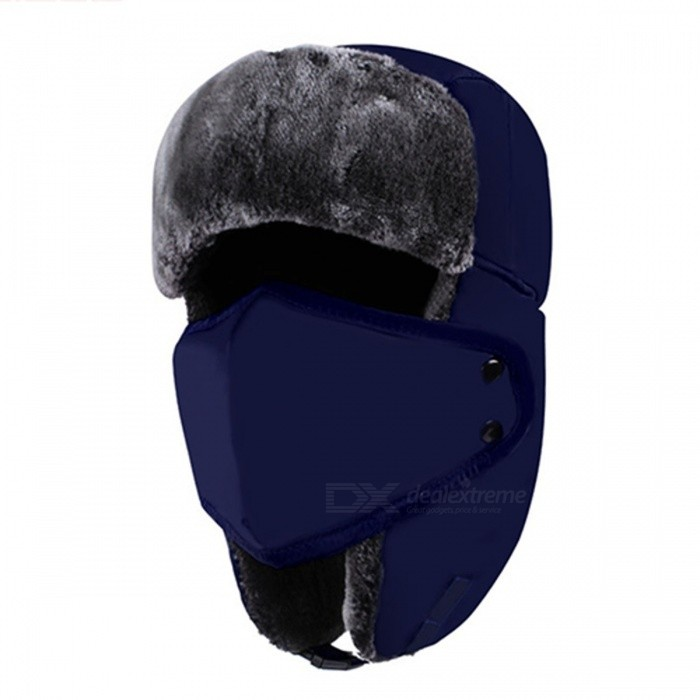 Unisex Bomber Fur Warm Thickened Ear Flaps Winter Hat for Men, Women - NavyCaps and Hats<br>Form  ColorDeep BlueQuantity1 DX.PCM.Model.AttributeModel.UnitShade Of ColorBlueMaterialFaux Fur, Acrylic, PolyesterGenderUnisexSuitable forAdultsStyleCasualStrap TypeOthers,-SeasonsOthers,WinterHead Circumference54-60 DX.PCM.Model.AttributeModel.UnitPacking List1 x Hat<br>