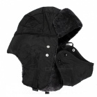 Unisex Bomber Fur Warm Thickened Ear Flaps Winter Hat for Men, Women - Black