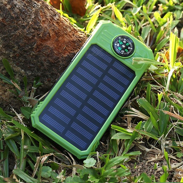 DIY Assembling Solar Powered Power Bank Enclosure Case with LED Flashlight Compass for IPHONE, IPAD, Samsung and More - Green