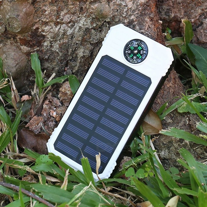 DIY Assembling Solar Powered Power Bank Enclosure Case with LED Flashlight Compass for IPHONE, IPAD, Samsung and More - White