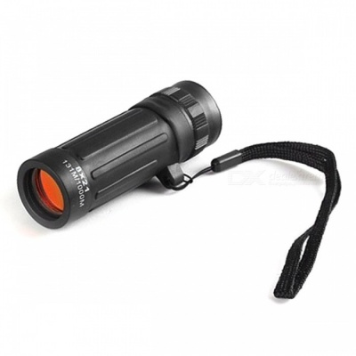Handheld Pocket-Size Compact 8X Monocular Telescope with Infrared Night Vision for Camping Hunting Sports - Black