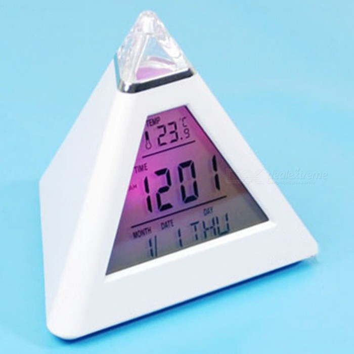 Pyramid Digital Snooze Alarm Clock w/ 7-Color LED, LCD Screen, Temperature Displaydesk clock<br>Form  ColorWhiteMaterialPlasticQuantity1 DX.PCM.Model.AttributeModel.UnitScreen TypeOthers,-Battery included or notNoPower SupplyAAABattery Number3Packing List1 x Digital Alarm Clock1 x User manual ( in Chinese and English)<br>