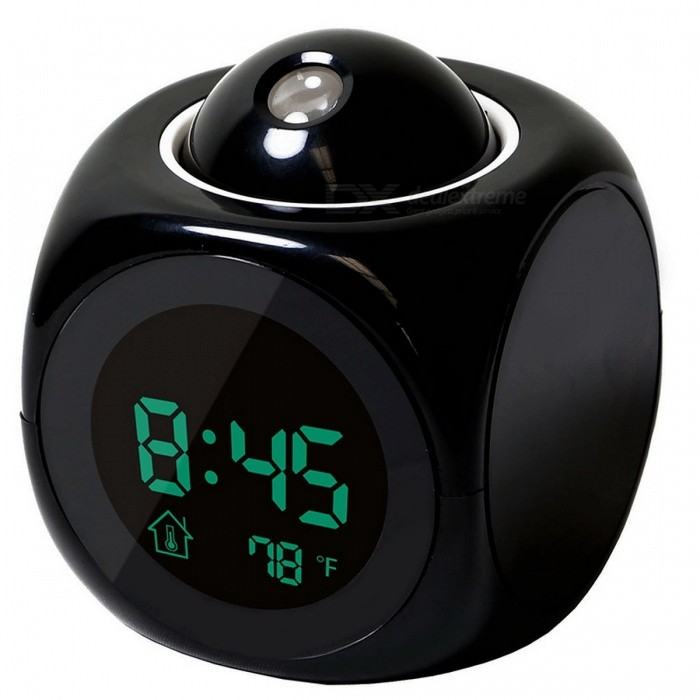 Multifunction LED Projection Alarm Clock Digital LCD Display Voice Talking Temperature Display - Black