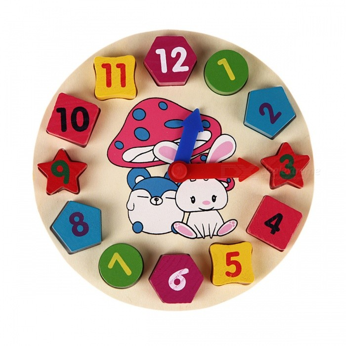 Wooden 12 Number Clock Toy, Baby Colorful PuzzleOther Toys<br>Form  ColorColorfulModelN/AMaterialWoodenQuantity1 DX.PCM.Model.AttributeModel.UnitSuitable Age 3-4 years,5-7 yearsPacking List1 x Wooden Clock<br>