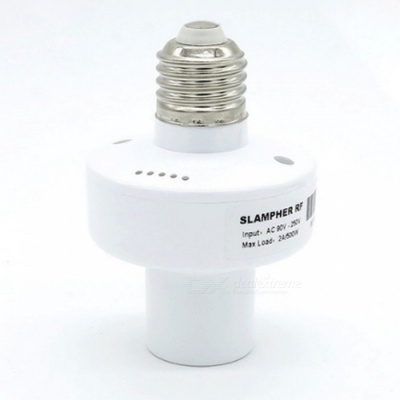 RF 2.4Ghz 433MHz Wireless Control E27 Universal Wi-Fi Light Lamp Bulb Holder - White