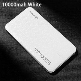 USAMS Mosaic Style Ultra Slim 10000mAh Power Bank with Dual USB Ports for IPHONE, Xiaomi, Samsung - White