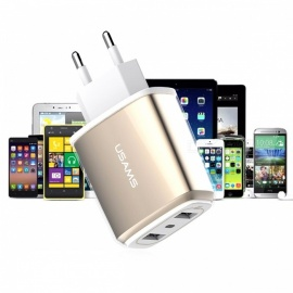 USAMS US-CC004 Universal Travel Charger Power Adapter with Dual USB Ports - Gold (EU Plug)