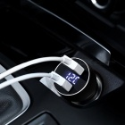 USAMS US-CC019 Universal 5V 3.4A LED Display Car Charger with Dual USB Ports - Black