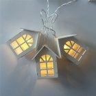 1.65m 10-LED Wooden House Shaped LED String Light for Indoor Decoration, Wedding, Party, Xmas Garland - White Light