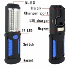 Multifunctional Portable USB Charging 36-LED + 5-LED Magnetic Flashlight Work Light w/ Hook + Mobile Power Bank - Blue